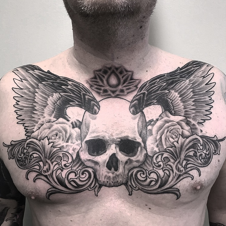 Winged Skull chest piece in-progress