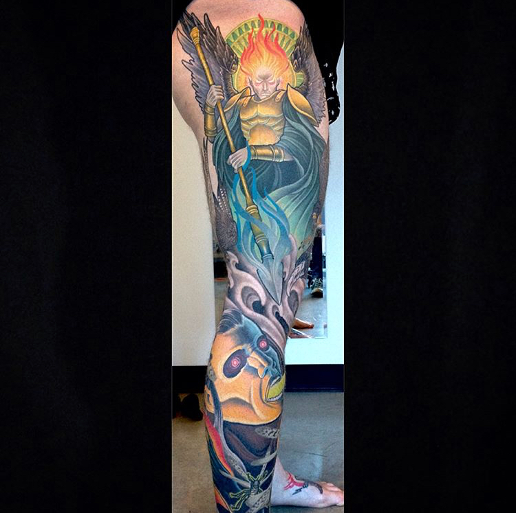 Archangel leg sleeve in-progress