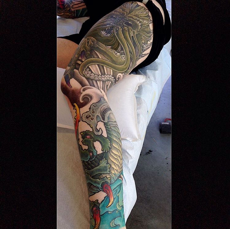 Sea Monster leg sleeve in-progress